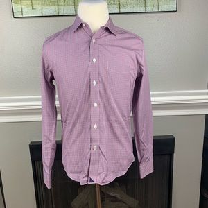 Untuckit Red Striped LS Button Up Shirt Sz Med